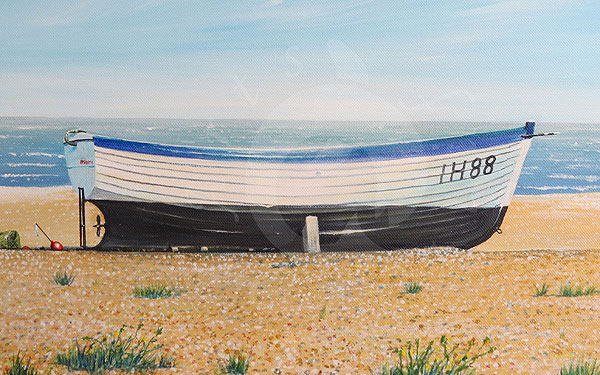 aldeburgh lobster boat - a painting by Tom Bicheno Brown Hampshire